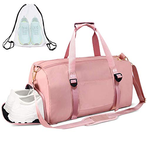 Gym Duffle Bag Dry Wet Separated Gym Bag Sport Duffle Bag Training Handbag Yoga Bag (Pink-Upgrade)