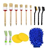 YANSHON 14 Pcs Auto Detailing Brush Set, Car Cleaner Brush Set for Cleaning Weels, Interior, Leather, Air Vents, Emblems, 6 Natural Boar Hair Premium Detail Brush, 2 Automotive Air Conditioner Cleaner