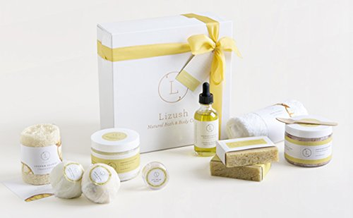 FREE SHIPPING - Spa Bath Gift Set - USA made 10 Relaxing All-in-One Kit, Bath Bomb, Scrub, Bath salts. Body oil, 2 soaps and more. Gift Idea for Her Women Wife Valentine Birthday Basket by Lizush