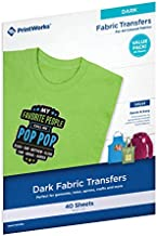 """Printworks Dark T-Shirt Transfers for Inkjet Printers, for Use on Dark and Light/White Fabrics, Photo Quality Prints, 40 Sheets, 8 ½"""" x 11"""" (00529C)"""