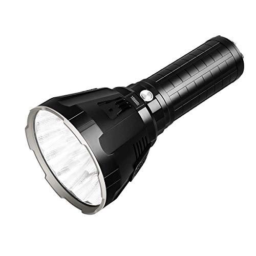 IMALENT MS18 LEDs Taschenlampe 100.000 Lumen,18 Stück Cree XHP70 2nd LEDs,Leuchtweite 1350 Meter,mit OLED-Display und integriertem Lüfter Wasserdicht Outdoor Camping Wandern Taschenlampe