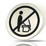 Kerafactum WC Schild im Sitzen pinkeln Bitte setzen Toilettenhinweis Hinweisschild Türschild Toiletten Rund aus Edelstahl Matt glänzend Pictogramm rundes Schild Selbstklebend Toilette Hinweis