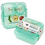 OLWO Lunchbox-Bentobox für Kinder und Erwachsenen, Brotdose für Kindergarten und Schule mit Unterteilung Veggie Friends, Lunchbox Kinder (Grün)