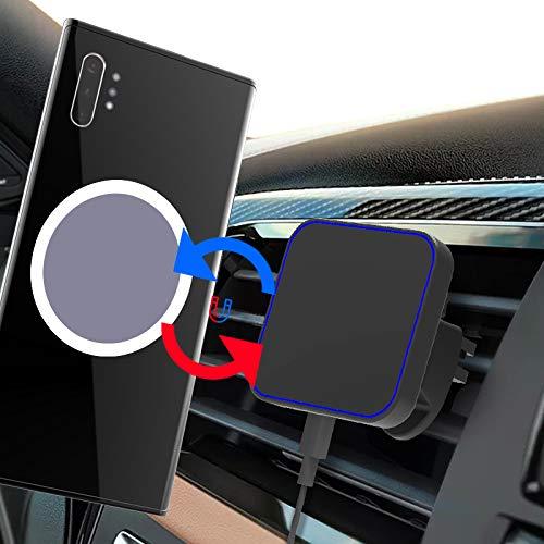 Gahwa Cargador de Coche Inalámbrico Magnético, Cargador de Coche Inalámbrico QI Tiene 360 ° Ajustable y Carga Rápida Compatible Samsung Galaxy S20/S10/S9/S8/S7 Edge/S6/iPhone 12 Pro/12/11 Pro MAX/XS