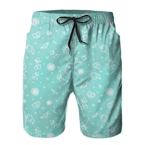 MayBlosom Pantalones cortos de playa para hombre, lindos azules dulces de verano, de secado rápido, pantalones cortos divertidos 3D impresos ropa de playa con cordón