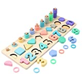 Aibecy Rompecabezas de números de madera 3 en 1, clasificador de forma de tablero logarítmico, juego de conteo, regalo Montessori para niños pequeños, educación preescolar