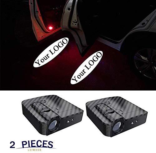 2 Pcs Custom Logo Wireless LED Projector,Car Door Step Welcome Lights(Accept Custom Logo) (Carbon-fiber)