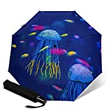 Paraguas plegable automático de tres pliegues paraguas unisex impreso paraguas manual paraguas portátil paraguas acuario of medusas