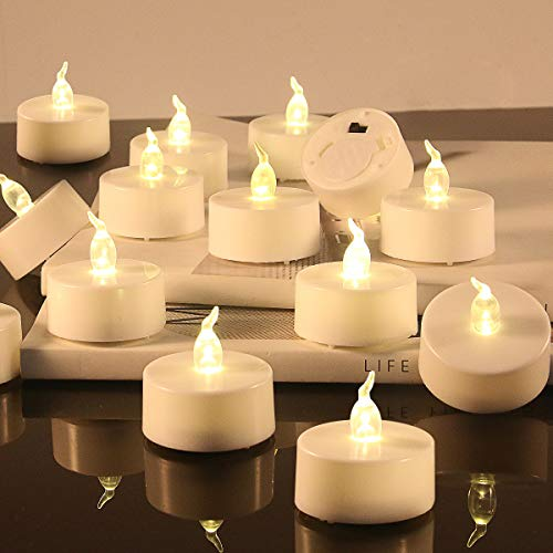 Flameless LED Tea Lights Candles Battery Operated Tealight Fake Unscented Realistic Candles Flickering Bright Tealights Votive Candles for Wedding Holiday Party Decorations Battery 200 Hours 12 PCS
