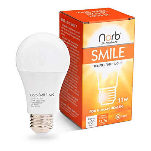 NorbSMILE Advanced Full Spectrum A19 LED Light Bulb, Natural Sunlike Spectrum, Supplements SAD Light, Supports Circadian Rhythm, Happy Mood, Energy Performance,'The Feel Right Light'