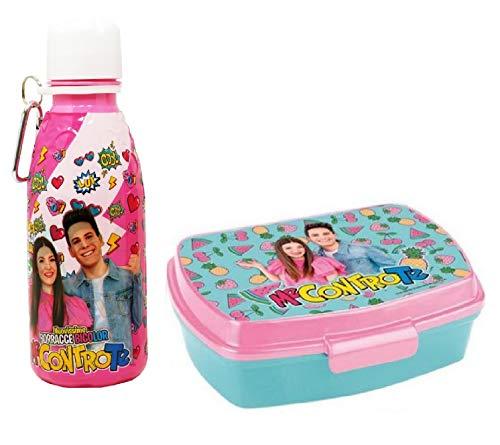 Set Pranzo ME CONTRO TE Borraccia Bambina Rosa + Box Porta Merenda Sofi e Lui Borraccia BPA FREE