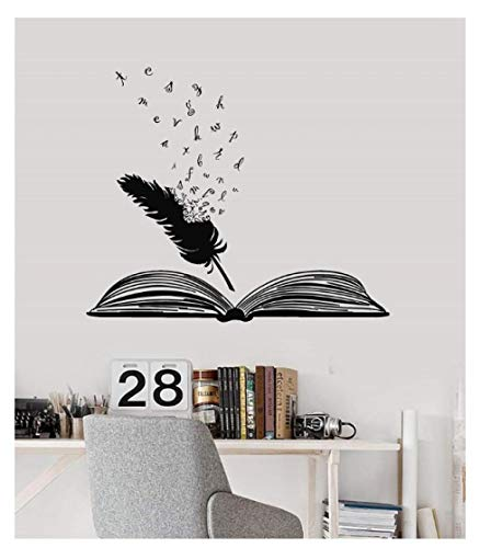 Adesivi Murale Sticker   Adesivo Murale A Libro Aperto E In Vinile Libreria Scolastica Aula Studio Camera Da Letto Home Decor Art Wall Sticker 50X42cm