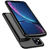 HiKiNS iPhone 11 対応 バッテリーケース ポータブル保護充電ケース容量 軽量 チャージャー 一体型 バッテリー内蔵ケース(5000mAh) ケースサポートLightningヘッドフォン - 黒