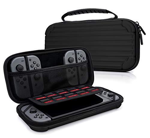 MyGadget Zubehör Tasche Aluminium Design Case für Nintendo Switch, Joy Con Controller & min. 10 NDS Spiele - Tragetasche Hardcase Schutzhülle in Schwarz