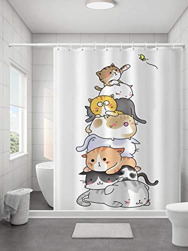 Ayniss Bad Vorhang Nassraum-Duschvorhang Anime cat schimmelresistent verdickt Bad Vorhang waschbar,für Badezimmerdekor,wasserdichter Badvorhang Beschwertem Saum