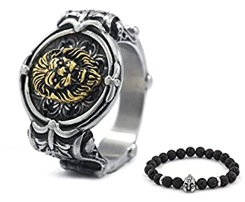 BaviPower Norse Lion Stainless Steel Ring Authentic Protection Power Strength Jewelry for Mens Womens US Size 7-13