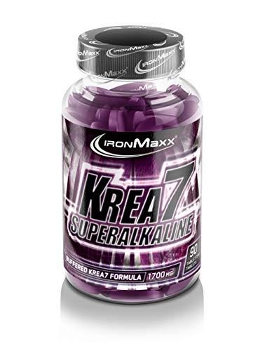 IronMaxx Krea7 Superalkaline – Kreatin-Tabletten von IronMaxx für höhere körperliche Leistung – 1 x 90 Tabletten