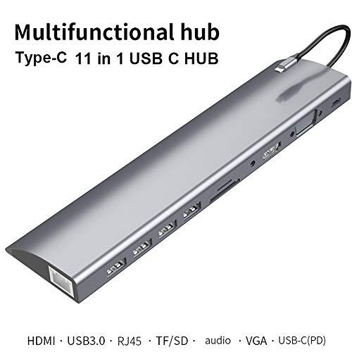 QINQIN 11-in-1 USB C HUB Docking Station Adapter Type C naar USB 3.0 4K HDMI RJ45 VGA PD,Geschikt voor PC en mobiele telefoon met type-c interface