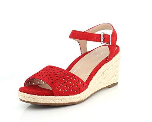 Vionic Women's Tulum Ariel Wedge Sandal - Ladies Espadrille Sandals Concealed Orthotic Support Cherry 10 M US