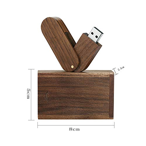 Garrulax USB-Speicherstick, 8 GB / 16 GB / 32 GB, Premium-Rotation, massives Holz, High Speed USB 2.0 Flash Drive Memory Stick Datenspeicherung Pendrive Thumb Disk mit Holzbox