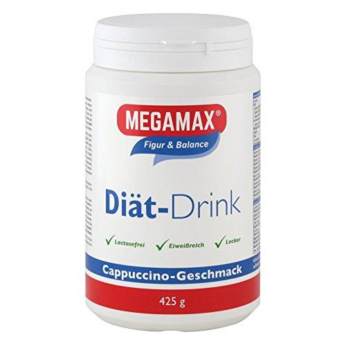 MEGAMAX Diät Drink Cappuccino Laktosefrei aspartamfrei Glucomannan - Eiweißreich 3K Eiweiß Ideal als Mahlzeitenersatz - Diät Shake zum Abnehmen - proteinreicher Abnehm-Shake mit Vitaminen