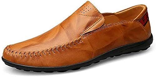 Herren Mokassins Schuhe, Mens Driving Loafers Slip-on Komfort Mokassins Freizeit Leder gefüttert Leichte Schuhe (Farbe   Gelb braun, Größe   43 EU) (Farbe   Wie Gezeigt, Größe   EinheitsGröße)