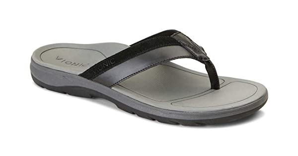 Vionic Canoe Dennis Toe-Post Sandal Mens Leather Flip-Flop with Concealed Orthotic Arch Support