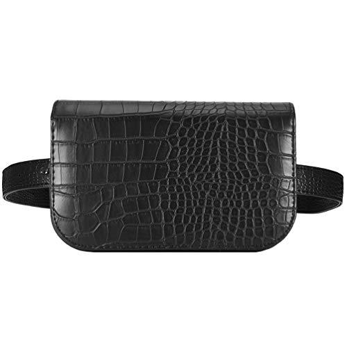 Vbiger Gürteltasche Damen Bauchtasche Hüfttaschen für Frauen (Schwarz XL)