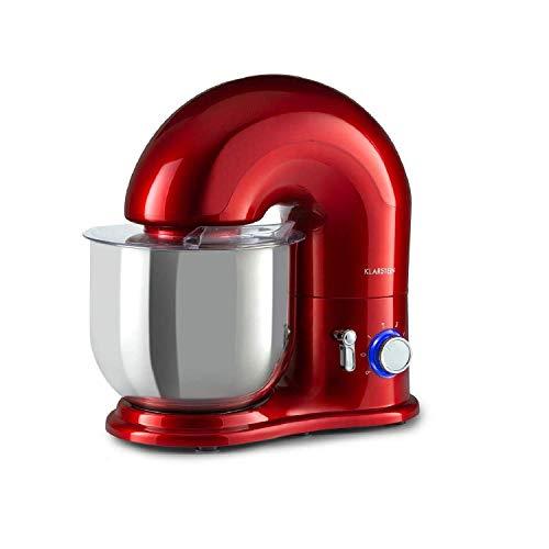 Klarstein Delfino Küchenmaschine Rührmaschine, 1800 Watt in 6 Leistungsstufen mit Pulsfunktion, Planetarisches Rührsystem, 7 l Edelstahlschüssel, 3-tlg. Zubehör: Rühr- & Knethaken, rot