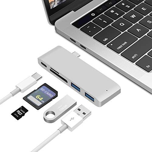 Concentrador USB C, adaptador USB C 5 en 1, estación de acoplamiento USB-C a HDMI Splitter tipo c, 2 puertos USB 3, 1 lector de tarjetas de memoria SD, 1 tarjeta de memoria microSD, 1 USB 3.1 de alt
