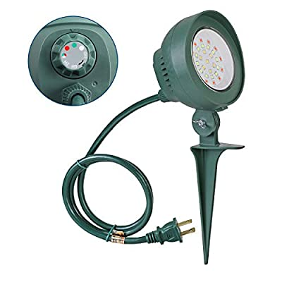 DEWENWILS Outdoor Spotlight Light with Light Sensor Timer, 6W LED Waterproof Landscape RGB Stake Light with 3' Cord for Flag, Yard,Garden,UL Listed