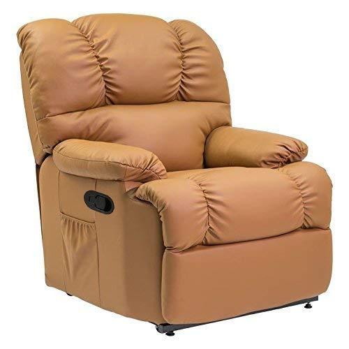 Cecotec - Sillón de Relax Masaje, Función Calor, 10 programas, 10 intensidades, 8 Motores, Mando de Control con Temporizador, Polipiel Bolsillo portaobjetos, Color Coñac