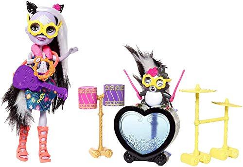 Enchantimals Muñeca rockera Sage Skunk Mofeta y su batería, accesorios muñeca (Mattel FRH41)