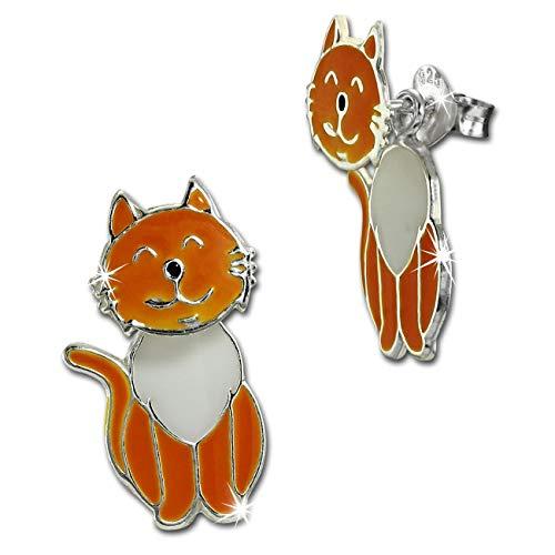 Teenie-Weenie SDO8168O - Orecchini a forma di gatto bianco dorato, 925
