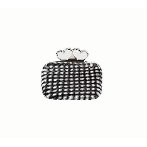 Ai-yixi Diseño Ligero y Elegante Señoras bifurcadas Corazones Diamante Fiesta Linterna Vintage Embrague Pop Salvaje (Color : Black, Size : 16 * 5.5 * 9.5)