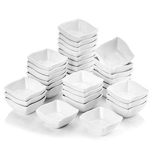 MALACASA, Serie RAMEKIN, Juegos de Cuencos para Aperitivos/Salsa, 32 piezas 2,5' Marfil Blanco Mini Aperitivos Cuencos de Porcelana Platos (6,5 x 6,5 x 3 cm)