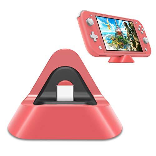 FYOUNG Ladestation für Nintendo Switch Lite und Switch, Protable Ladegerät Halterung Mini Triangle Ständer Switch Lite Charger - Koralle