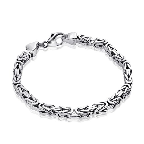 MATERIA Königskette 925 Silber Herren Armband 3mm diamantiert rhodiniert deutsche Fertigung #SA-36, Länge:19 cm