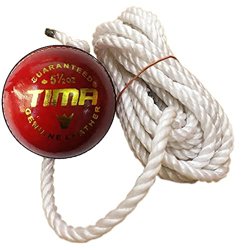 Tima Leather String Cricket Ball, Size Standard, (Red)