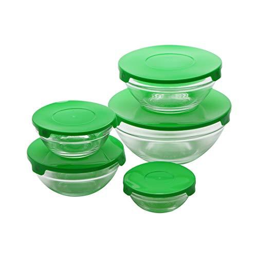 Renberg 20-delige set met 10 deksels voor levensmiddelen, glas, groen, verschillende maten: 150, 200, 350, 500 en 900 ml 2 stuks 20 x 19 x 18 cm.