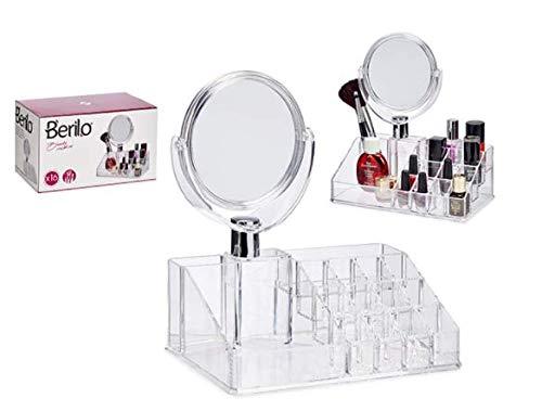 Berilo Organizador Maquillaje. Tocador Maquillaje y Organizador Baño y Organizador Joyas. Incluye Espejo Maquillaje.