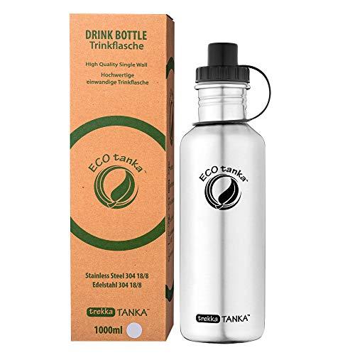 ECOtanka trekkaTANKA 1L Edelstahl Trinkflasche BPA frei inkl. Ersatzdichtungs-Service - auslaufsicher, einfache Reinigung, kohlensäuregeeignet, langlebig