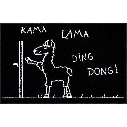 Salonloewe Fußmatte mit Spruch Rama Lama Ding Dong 050x075 Türmatte Lama, Fußmatte lustig, Schmutzfangmatte waschbar, rutschfest, Made in Germany