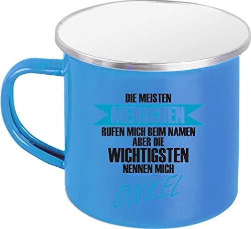 Shirtstown Taza esmaltada, diseño nostálgico de Mich.Onkel, texto en alemán, color azul