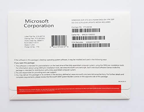 Microsoft P73-06165 - OEM: Windows Server 2012 Standard R2 X64 English 1P DSP 2CPU/2VM