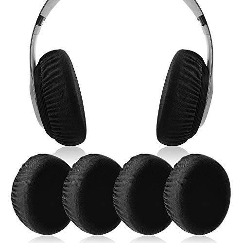 JECOBB Flex Fabric Earpads Cover Protectors with Stretchable and Washable Lycra for Beats Studio 3/2 Bose QC35 25 15 and Other Headphones with 3-4 Inch Ear Cushions [ 2 Pairs ] (Black)