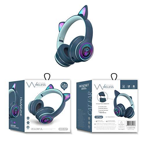 FEDBNET Auriculares Bluetooth con Oreja de Gato RGB, AKZ-K27 Auriculares Plegables para Juegos Música con Luz LED Orejas de Gato, Auriculares Inalámbricos Carga USB