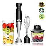 Hand Blender, (New Version) Powerful 4-in-1 Immersion Hand Blender with 16oz Food Chopper, 20oz SAN Beaker and Ballon Whisk, BPA-Free Hand Mixer Set