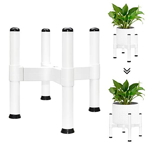Soporte para plantas, soporte ajustable, soporte para macetas para interior y exterior, soporte para macetas, multifuncional, para jardín, balcón, salón (23 cm de alto), color blanco