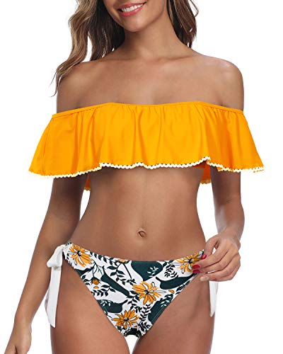 Tempt Me Women Orange Floral Off Shoulder Bikini Ruffled Flounce Top with Hipster Bottom Two Piece Bathing Suit M